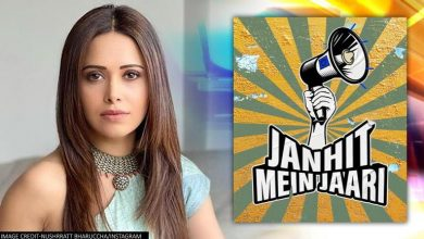 Photo de Nushrratt Bharuccha blessé pendant la séquence de la chanson Holi pour 'Janhit Mein Jaari'